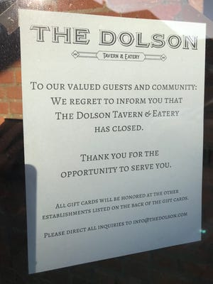 A notice posted at the entrance to The Dolson Tavern & Eatery Sunday morning announced the restaurant's closure eight months after it opened in downtown Charlotte.