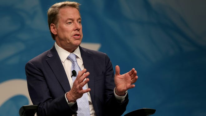 Ford Motor Company Executive Chairman, Bill Ford, announces new President and CEO, Jim Hackett, not pictured, on Monday, May 22, 2017 at the Ford Motor Company World Headquarters in Dearborn.