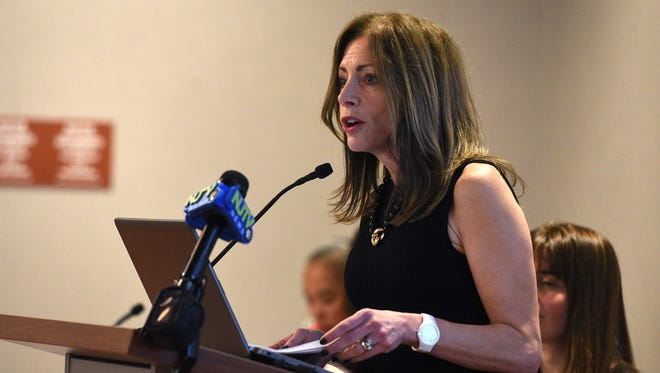 NJ First Lady Tammy Murphy speaks during a Time Is Now Action Coalition community update meeting at Bergen County Plaza on Thursday, April 19, 2018. The Time Is Now Coalition formed in the wake of the #MeToo and #TimeIsUp movement last year.