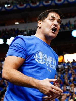 Mavericks owner Mark Cuban reacts during Game 3 of his team's first-round playoff series vs. the Spurs on April 26.