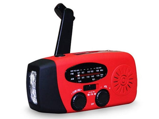 This solar-powered radio, flashlight, battery combo is the essential emergency kit item.
