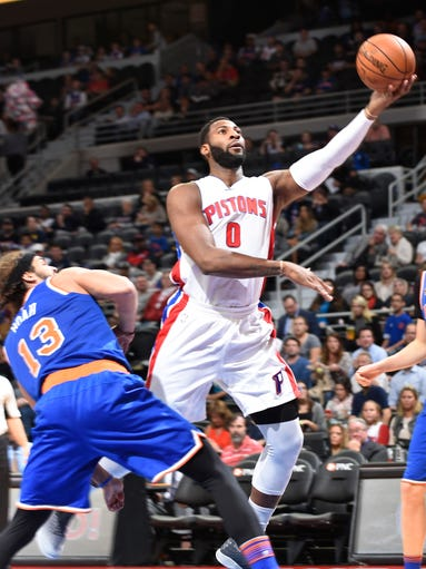 Pistons' Andre Drummond shoots over the Knicks' Joakim