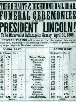 The late April 1865 funeral train schedule for slain President Abraham Lincoln included in its banner headline Richmond, Ind.