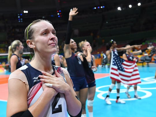 USA libero Kayla Banwarth (2) celebrates Saturday,