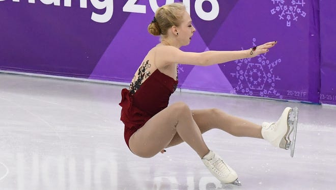 U.S. champ Bradie Tennell falls in her Olympic individual debut.