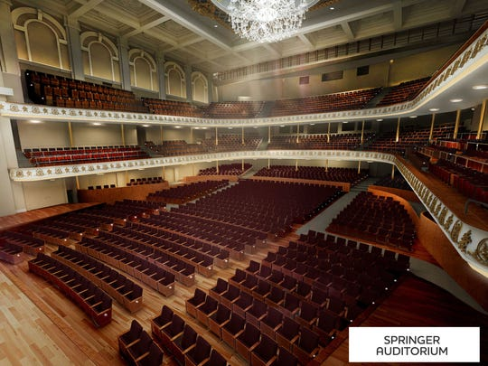 A rendering of what Springer Auditorium will look like with no center aisle and fewer seats.