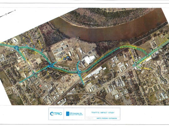 A rendering provided by the City of Bossier City in 2017 displays a working plan for the Northern Parkway Extension project, to be named the Walter O. Bigby Carriageway.