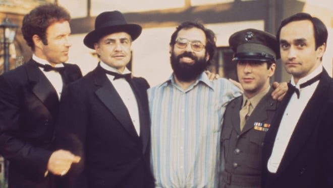 Director Francis Ford Coppola, center, and the cast of 1972's 'The Godfather' (from left, James Caan, Marlon Brando, Al Pacino and John Cazale).