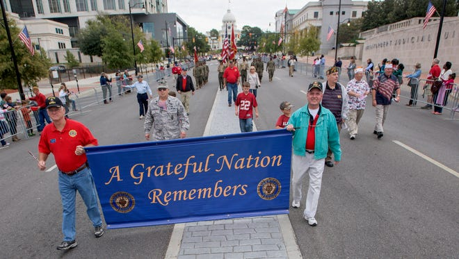 The annual Montgomery River Region Veterans Day Parade is held in downtown Montgomery, Ala. on Friday November 11, 2016.