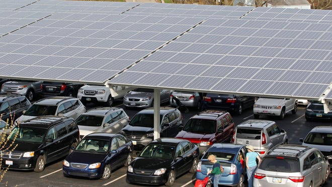 Solar panels over the parking lot at the Cincinnati Zoo & Botanical Garden. Energy-efficiency standards protect Ohioans' long-term security, health, environment and finances.