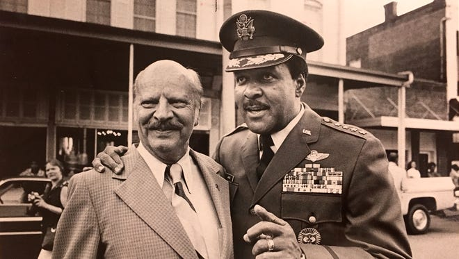 """Gen. Daniel """"Chappie"""" James Jr. poses with then U.S. Rep. Bob Sikes in 1975."""