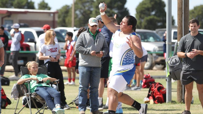 Reagan County High School's Tristan Ortiz competes in the shot put at the Cotton Relays in Wall on Thursday, March 29, 2018.