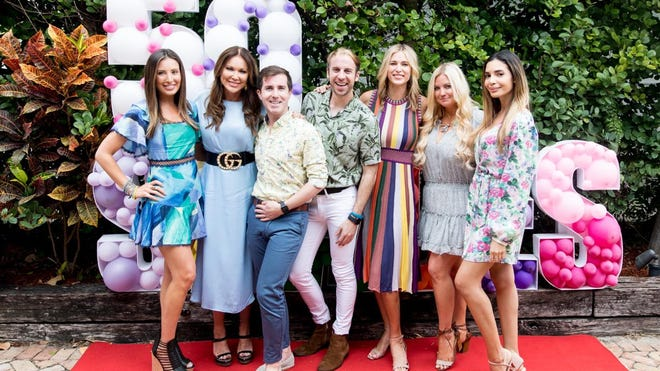 Celebrities and influencers pose for a photo at the 50 Shades of Blogging event presented by Ticket2Events. From left: Lindsey LLscene, LeeAnne Locken, Sean Koski, Brian Kelly, Kristen Taekman, Lilly LLScene and Jasmine Tosh Stewart.