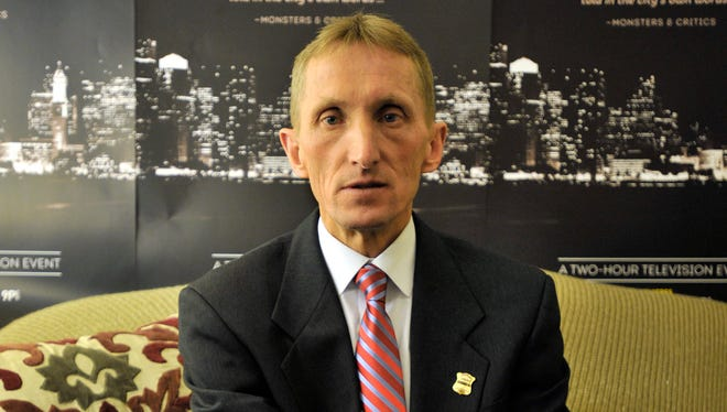 """Boston Police Commissioner Bill Evans at a screening of """"Inside the hunt for the Boston bomber,"""" made in partnership with National Geographic."""
