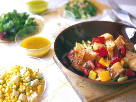 Panzanella is a bread salad made with heirloom tomatoes.
