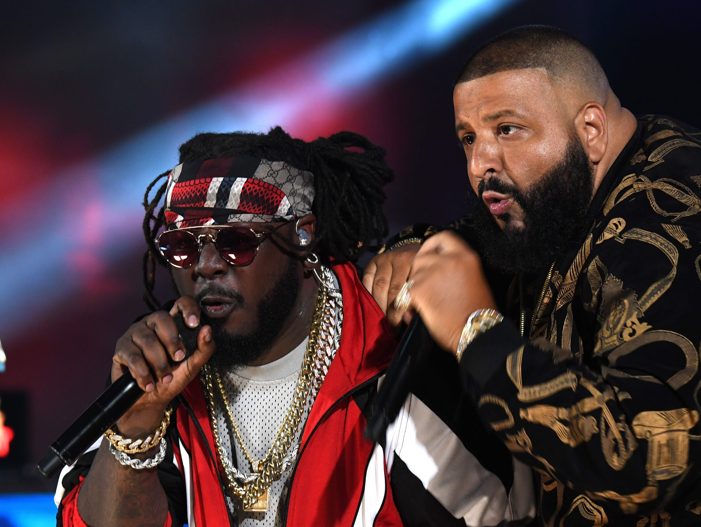 T-Pain and DJ Khaled perform onstage during the BET