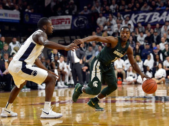 Michigan State guard Tum Tum Nairn equaled a career-high with 13 points during the Spartans' 72-63 loss to Penn State on Saturday, Jan. 7, 2017 at the Palestra in Philadelphia.
