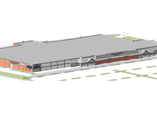 A rendering of the planned storage facility at the former Kmart and Great Western Marketplace site.