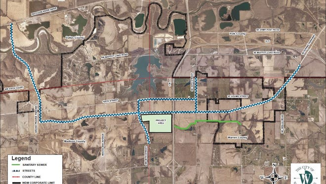 A conceptual alignment for West Des Moines' Veterans Parkway, which will connect Iowa Highway 5 west to Grand Prairie Parkway and extend north to Interstate 80. This design was released as part of Microsoft's Project Osmium.