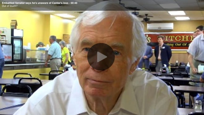 U.S. Sen. Thad Cochran told a Fox News reporter that he did not know about House Majority Leader Eric Cantor losing his seat in a primary challenge.