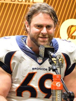 Denver Broncos guard Evan Mathis (69) talks with the media after the Denver Broncos won Super Bowl 50 at Levi's Stadium.