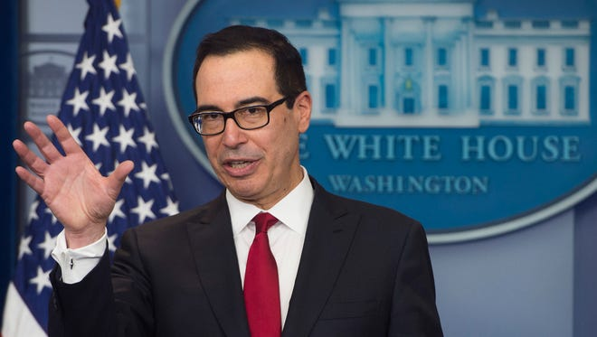 Secretary of the Treasury Steven Mnuchin speaks during a press briefing at the White House Thursday.