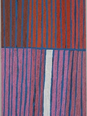 "Boxer Milner Tjampitjin's painting ""Palleyaran"" is part of the exhibit ""No Boundaries: Aboriginal Australian Contemporary Abstract Painting"" at Cornell University's Herbert F. Johnson Museum."