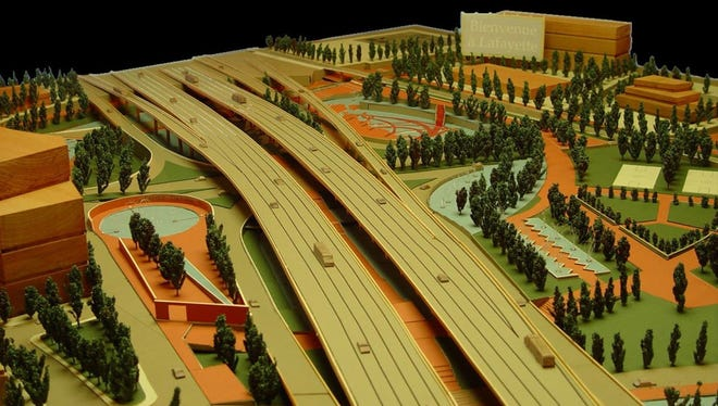 A model of the I-49 Lafayette Connector by the University of Louisiana at Lafayette Community Design Workshop.