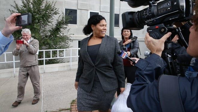 Rochester City Court Judge Leticia Astacio is released from jail following a hearing at the the Hall of Justice in downtown Rochester Friday, Nov. 3, 2017.
