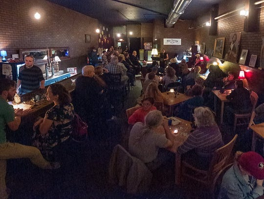 A crowd at the Blue Tavern