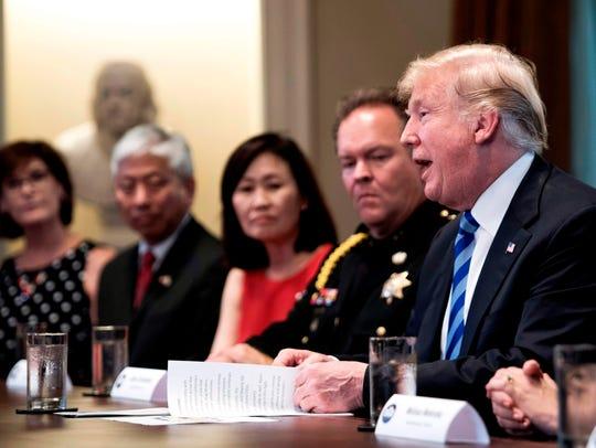 President Donald Trump discusses sanctuary cities and
