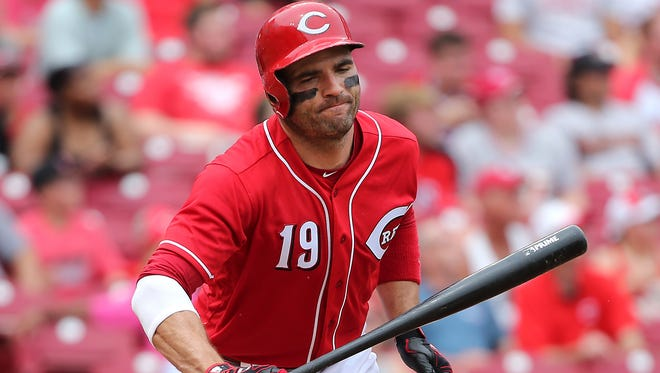 Cincinnati Reds first baseman Joey Votto (19) throws his bat down as he flies out in the eighth inning during the National League baseball game between the Arizona Diamondbacks and the Cincinnati Reds on July 20, 2017, at Great American Ball Park.