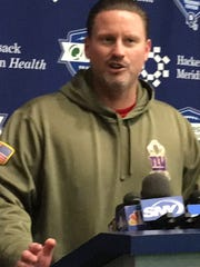 Giants coach Ben McAdoo addresses the media Wednesday after practice in East Rutherford, N.J.
