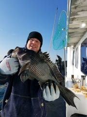 A fisherman with a sea bass landed on the Dauntless party boat.