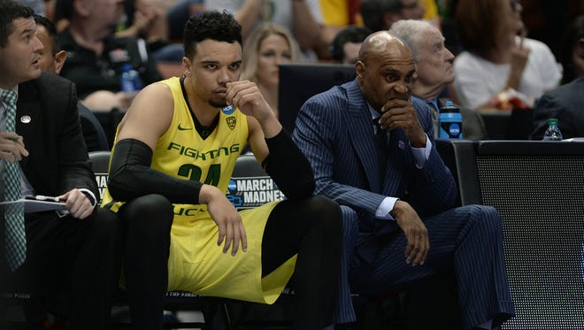 March 26, 2016; Anaheim, CA, USA; Oregon Ducks forward Dillon Brooks (24) reacts on the bench while watching game action against Oklahoma Sooners during the second half of the West regional final of the NCAA Tournament at Honda Center. Mandatory Credit: Robert Hanashiro-USA TODAY Sports