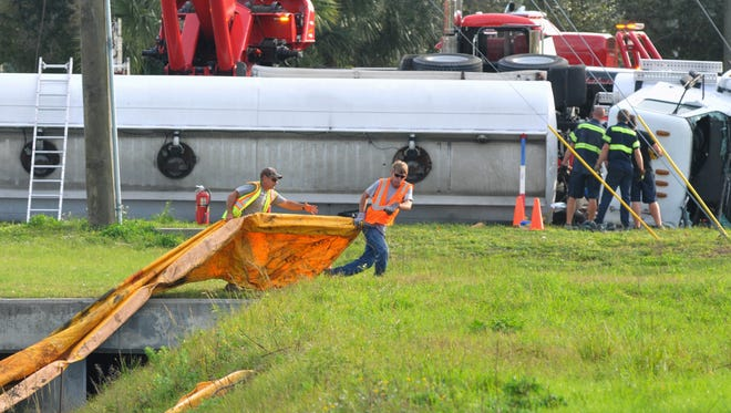 Tanker truck overturned on westbound Malabar Road, at the intersection of Babcock Street in Palm Bay, Monday. Diluted diesel fuel that the truck was carrying also spilled into a drainage area along Babcock St., and efforts were made to stop the speed of the leak.