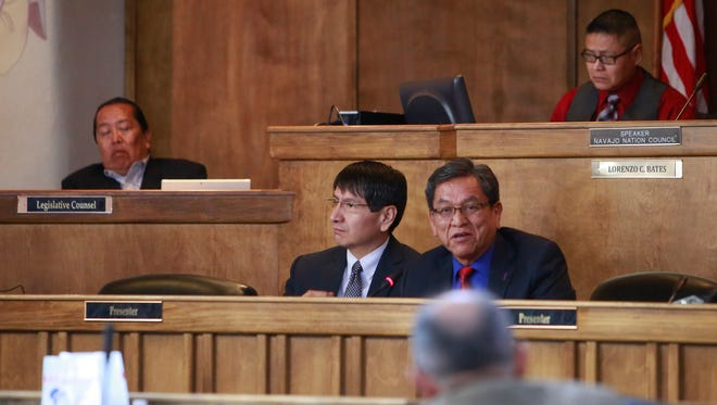 Navajo Nation President Russell Begaye, right, speaks to the Navajo Nation Council at the winter session on Monday in Window Rock, Ariz., as Vice President Jonathan Nez looks on.