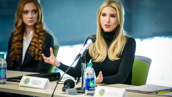 Ivanka Trump, adviser to President Trump, and Iowa Gov. Kim Reynolds speak during a roundtable at Waukee Innovation and Learning Center in Waukee, Iowa, March 19, 2018.