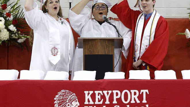 (left to right) Caitlin Germek , Victoria Gonzalez and James Vaughn sing the school Alma Mater, during graduation ceremony at Keyport High School, Keyport,NJ. Monday June 19th.2017  Noah K. Murray-Correspondent/Asbury Park Press