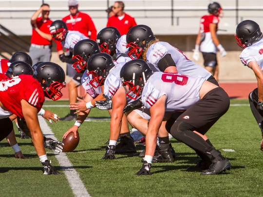 The Southern Utah offensive line lines up for a play