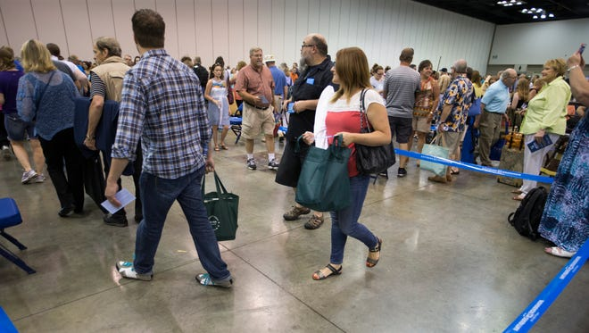 """Long lines were the norm for the 6,000 people who got tickets, with a chance to go on television, at the """"Antiques Roadshow"""" stop in Indianapolis on Saturday, July 9, 2016."""