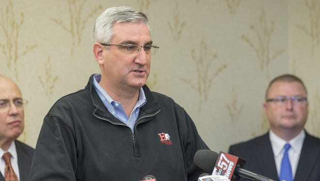 Governor-elect Eric Holcomb speaks to media members at a news conference Wednesday, Nov. 9, 2016, in Indianapolis.
