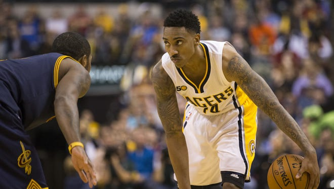 Jeff Teague of Indiana, Cleveland Cavaliers at Indiana Pacers, Bankers Life Fieldhouse, Indianapolis, Wednesday, February 8, 2017. Indiana lost 117-132 to the reigning NBA Champions.