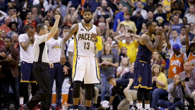 FILE -- Indiana Pacers forward Paul George (13) reacts after missing a three-point shot that would have ties the game in the final seconds in the second half of their NBA playoff basketball game Sunday, April 23, 2017, afternoon at Bankers Life Fieldhouse. The Pacers lost to the Cavaliers 106-102.
