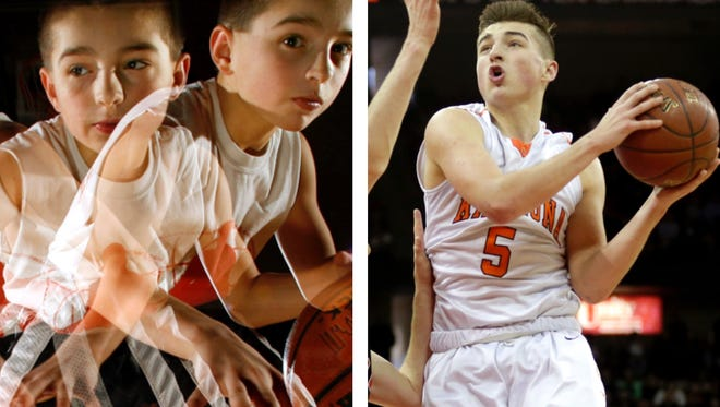 Kaukauna basketball star Jordan McCabe as a 10-year-old dribbling whiz (left) and a sophomore point guard for the WIAA Division 2 boys' state champion Ghosts.