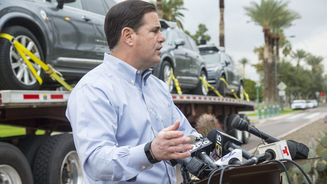 Gov. Doug Ducey talks about the addition of three Uber self-driving vehicles, which were delivered to Arizona on Dec. 23, 2016, just days after California rejected the cars for driverless testing.