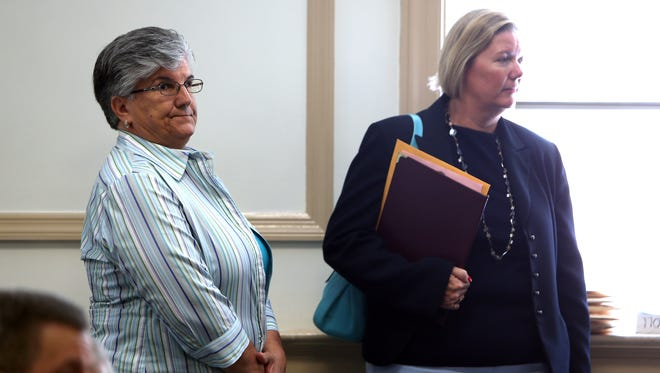 Bob Karp/Staff Photographer Maria Patamia in Morris County Superior Court with attorney Marcy M. McMann. Patamia, a retired health and physical education teacher, is charged with sexually assaulting a teenager more than 20 years ago. Maria Patamia in Morris County Superior Court with attorney Marcy M. McMann. Patamia, a retired health and physical education teacher at Mount Olive Middle School charged with sexually assaulting a teenager more than 20 years ago. June 21, 2016, Morristown, NJ