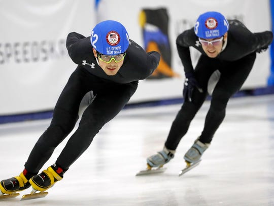 John-Henry Krueger (left) and Ryan Pivirotto compete