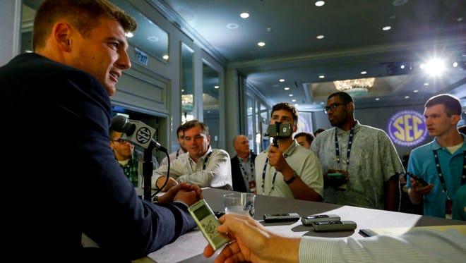 Vanderbilt's Kyle Shurmur is one of just six quarterbacks scheduled to speak at SEC Media Days this week. He took his turn Tuesday, July 11, 2017.