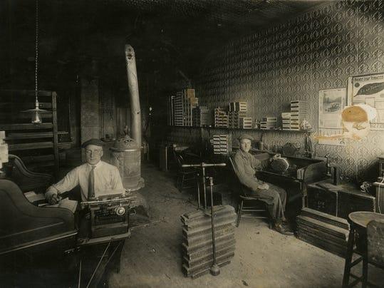 Interior of A B Kampa Cigar Factory, Freeport (MN) ca 1921.jpg
